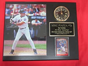 Mike Piazza New York Mets Collectors Clock Plaque w 8x10 Photo and Card by J & C Baseball Clubhouse