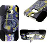 myLife Dark Blue and Yellow Starry Night {Modern Design} Two Piece Neo Hybrid (Shockproof Kickstand) Case for the All-New HTC One M8 Android Smartphone - AKA, 2nd Gen HTC One (External Hard Fit Armor With Built in Kick Stand + Internal Soft Silicone Rubberized Flex Gel Full Body Bumper Guard)