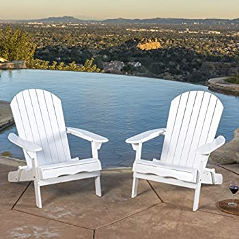 Denise Austin Home Milan Outdoor Folding Wood Adirondack Chair (Set of 2)