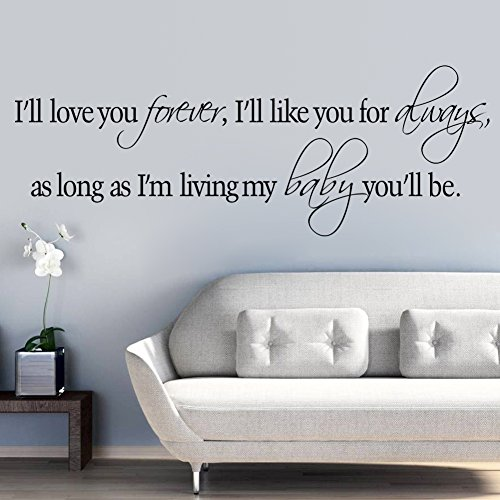 Witkey I'll Love You Forever I'll Like You For Always DIY Home Decor Decals Wall Sticker Art Quote and Saying Removable DIY Mural Living Room Bedroom