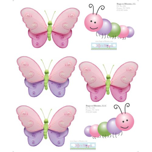 Caterpillar Butterfly Pink Purple Green Wall Mural Vinyl Stickers. Sticker Decals For Children'S, Nursery & Baby'S Room Decor, Baby Walls, Girls Bedroom Decorations. Butterflies Caterpillars Decal Child'S Murals Birthday Party Baby Shower Decoration front-984699