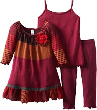 Love U Lots Baby-girls Infant Combo Stripe Sweater Ruffle Tunic Set, Cranberry, 12 Months