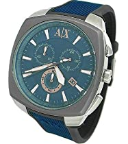 Armani Exchange Mens Blue Square Chrono Watch