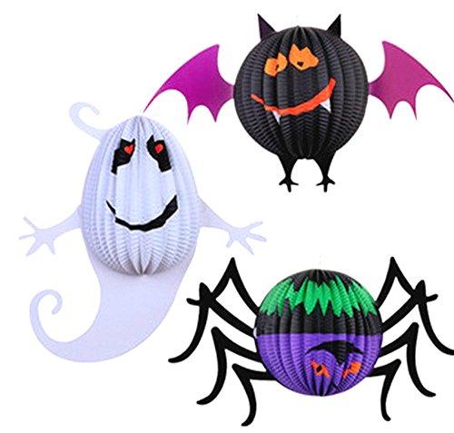 ハロウィン ランタン 提灯 パーティー 飾り コウモリ おばけ くも 3種類セット ハロウィンを盛り上げる飾りに是非