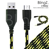 TheBlingZ.® 2M meter Micro USB Strong Braided Data Sync Charger Cable for Nokia HTC Blackberry Samsung Galaxy S S2 S3 S4 Note 2 ACE mini - Black