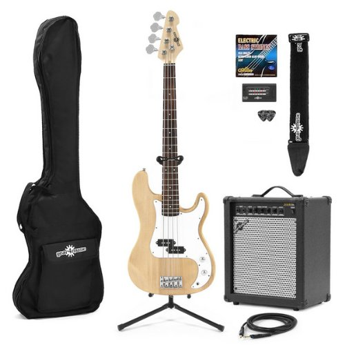 Electric G-4 Bass Guitar + 35W Amp Pack Natural