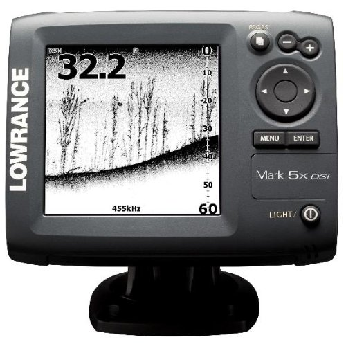 Lowrance 000-10233-001 Mark-5x DSI DownScan Imaging Fishfinder with 5-Inch Monochrome LCD and 455800 KHz Transom Mount Transducer