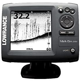 Lowrance 000-10233-001 Mark-5x DSI DownScan Imaging Fishfinder with 5-Inch Monochrome LCD and 455/800 KHz Transom Mount Transducer
