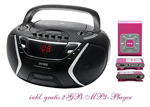 Kinder Mädchen Stereoanlage CD-Player Radio Kassettendeck Boombox DENVER TCP-38 Schwarz inkl. 2GB MP3-Player Pink