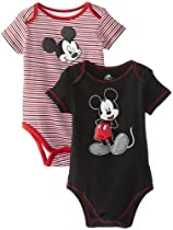 Disney Baby Baby-Boys Infant Mickey 2 Pack Creeper, Black and Stripes, 18