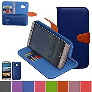HTC One M9 Case,Mama Mouth [DETACHABLE Feature] Folio Flip Hard Case [Stand View] Premium PU Leather [Wallet Case] With Built-in Media Stand ID Credit Card / Cash Slots and Inner Pocket Cover For HTC One M9, Blue