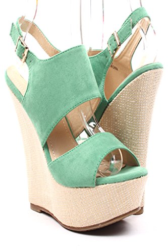 Lolli Couture Faux Suede Bamboo Woven Platform Wedge Sandals 7 Green front-539278