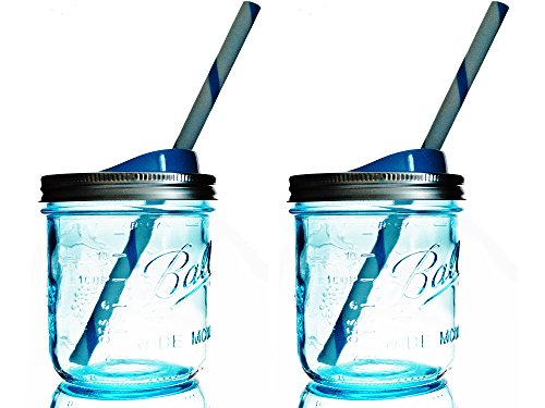Mason Drinking Jar with Straw and Sip Lid 16oz Wide Mouth (2, Blue) (Sippy Cup Lids For Ball Jars compare prices)