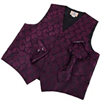 VS2021-3XL Purple Patterned Mens Style Vest Cufflinks Hanky Ascot Tie By Y&G