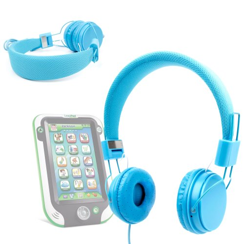 Duragadget Blue Ultra-Stylish Kids Fashion Headphones With Padded Design, Button Remote And Microphone For Leapfrog Leappad Ultra
