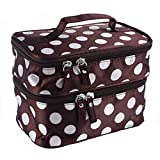 Portable Women Girl Wave Dot Makeup Case Double Cosmetic Handbag Tool Storage Toiletry (Brown)