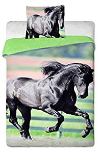 jerry fabrics parure de lit cheval noir housse de. Black Bedroom Furniture Sets. Home Design Ideas