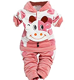 Unisex Baby Velour Cow Original Cuddle Coat for 1-3 Year 2 Pieces 3 Color (For  12 months, Pink)