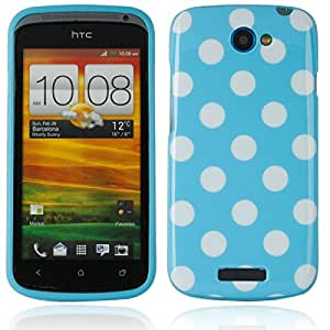 Polka Dots TPU Case for HTC One S Blue White Dot