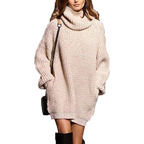 Women Khaki Pullover Oversized Jumper Long Sleeve Turtleneck Knit Sweater Dress
