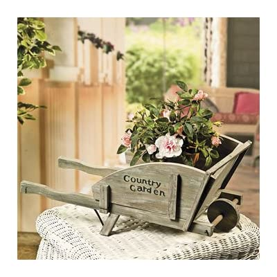 Country garden wheelbarrow indoor outdoor for Home decorations amazon