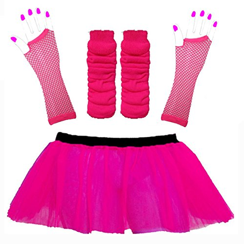 Neon tutu kit pink leg warmers fishnet gloves size 8. To 14 - Five Colours