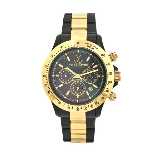 Toy Men's 11218-GD Heavy Metal Plasteramic Black Bracelet and Chronograph Dial Watch