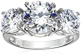 Platinum Plated Sterling Silver Round Cubic Zirconia Yesterday, Today, Tomorrow 3-Stone Ring, Size 6