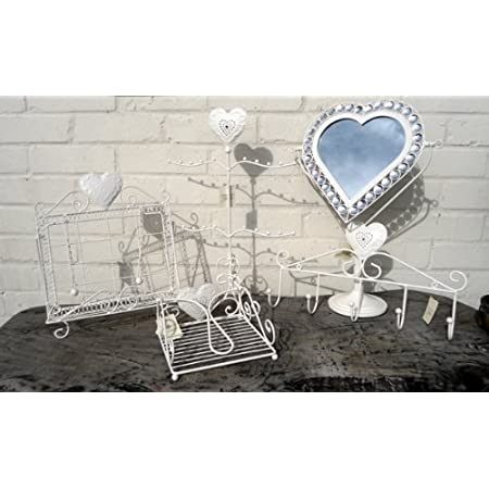 Wall Hooks - Cream Metal Punched Heart Design - Great for Coats, Scarves or Jewellery