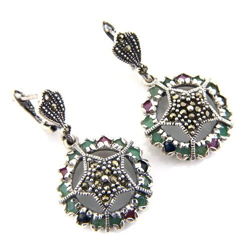 13.40g Genuine Ruby Emerald Sapphire Gemstone Marcasite 925 Silver Earring Pair