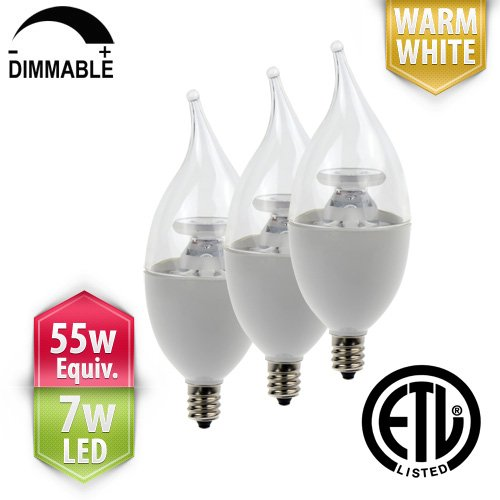 [3-Pack] PacLights Cand55 Dimmable LED Candelabra