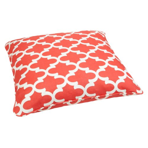 Mozaic Sabrina Corded Indoor/Outdoor 28-Inch Floor Pillow, Large, Scalloped Coral front-596272
