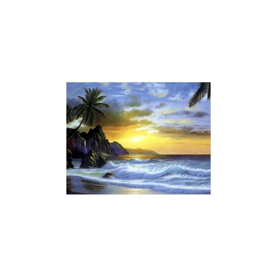 Modern Abstract Oil Painting on Canvas Wall Art Home Decoration Hawaii Beach Seashore Big Wave Sunrise (36 x 48 Inch (91 x 122 CM))