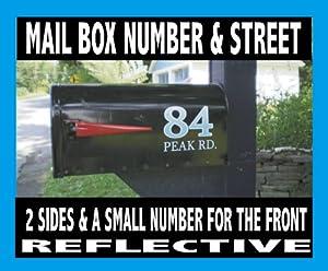 Mailbox Number & Name Decal Set Reflective Mailbox Sticker