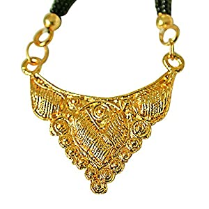 Surat Diamonds Gold Plated Mangalsutra Pendant with Black Kedia Beads Chain 30 IN for Women  MNG7  available at Amazon for Rs.99