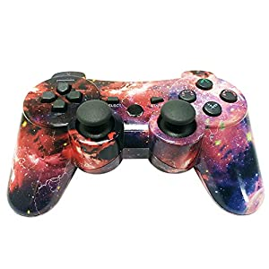 PS3 Controller Wireless Double Shock Gamepad for Playstation 3 Remotes, 6 axis Joystick Wireless PS3 Controller with Charging Cable by bowei (Color: Galaxy)
