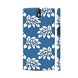Colorpur Blue White Tropical Leaf Pattern Designer Mobile Phone Case Back Cover For OnePlus One | Artist: Looly Elzayat