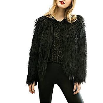 Women's Long Sleeve Vintage Winter Warm Fluffy Faux Fur Coat Jacket Outwear
