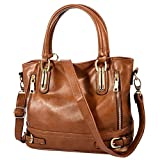 Vbiger Women's Large Capacity Zipper Shoulder Satchel Handbags Tote Bags (Brown)