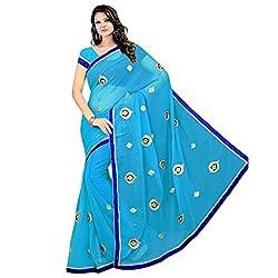 Prism Collection Chiffon Embroidered Saree (PRISM SARI 03_Blue)