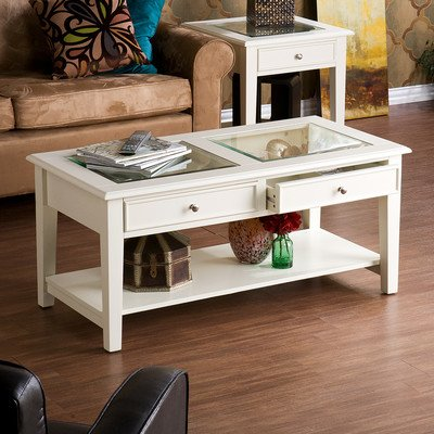 Contemporary Style 2- Drawers Amberly Coffee Table Fashioned with White Hardwood and Wood Veneer, and a Tempered Glass Inlay, Giving the Table a See-through Table Top