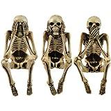 3 Wise Skeleton Gothic Shelf Sitters Ornament