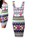 Neon Aztec Geometric Shape Print Stretch, Bodycon White Dress Womens Size 14