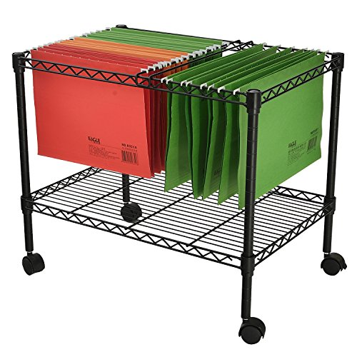 Finnhomy Supreme 1-Tier Metal Rolling File Cart for Letter Size and Legal Size Folder, Black