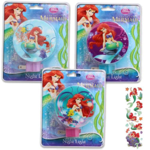 3-Piece Disney's Little Mermaid Night Light Gift Set for Kids - 3 Little Mermaid Night Lights (3 Fun Designs) Plus 1 Pack of Little Mermaid Stickers - 1