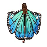 2017 New Womens Halloween Butterfly Wings Shawl Cape Scarf Fairy Poncho Shawl Wrap Costume Accessory (Blue)