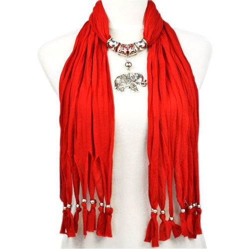 Hot Sale Red Jewellery Scarf with Elephant Pendant, NL-1788J