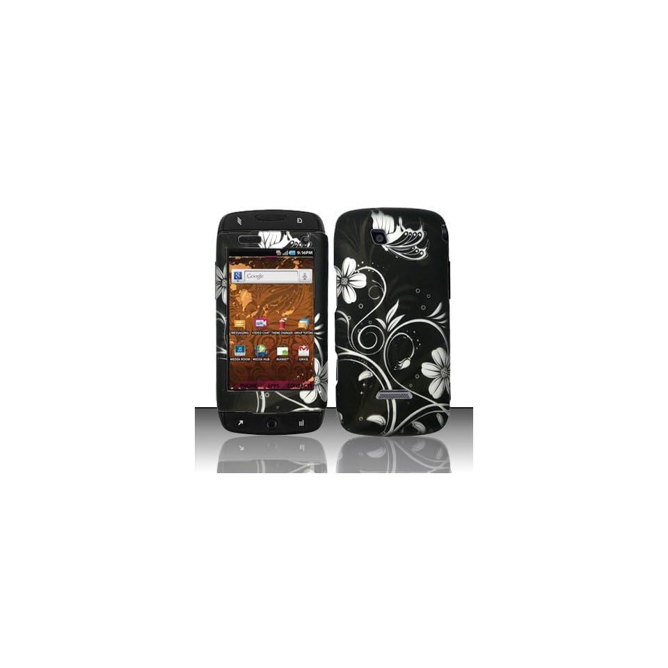 Black White Flower Hard Cover Case for Samsung T Mobile Sidekick 4G SGH T839