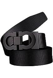 Zando Men's Fashion H Letter Buckle Premium Leather Belt Strap Waistband
