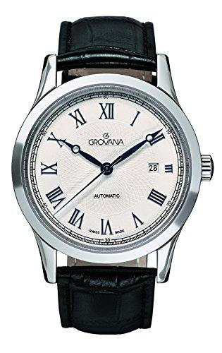 GROVANA 1218.2532 - Reloj de pulsera hombre, piel, color negro